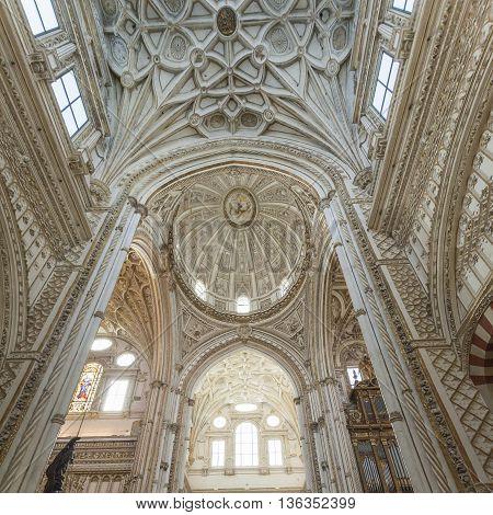 Cordoba - Spain - June 10, 2016 : Cathedral White Ceiling Dome Mezquita Cordoba Spain. Created In 78