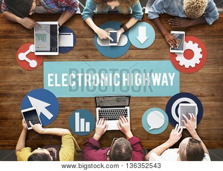 Electronic Highway Internet Information Online Concept