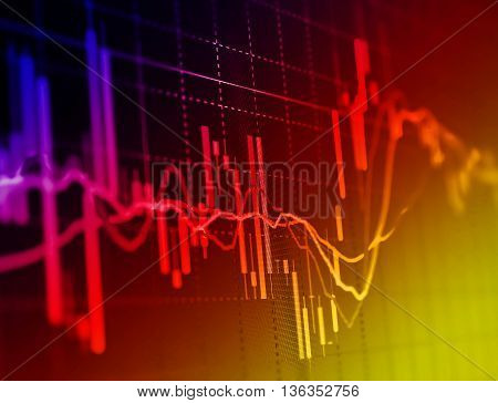 Stock market graph and bar chart price display.