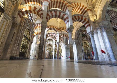 Cordoba - Spain - June 10, 2016 :arches Pillars Mezquita Cordoba Spain. Created In 785 As A Mosque,