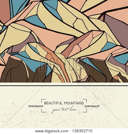 vector abstract template with hand drawn mountains.