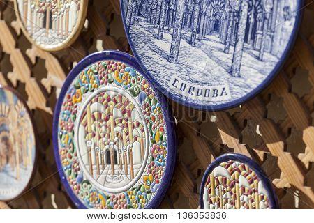 Cordoba - Spain - June 10, 2016 :colorful Ceramic Spanish Plates.