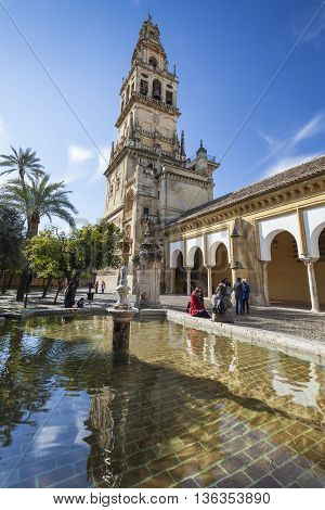 Cordoba - Spain - June 10, 2016 :the Bell Tower At The Mezquita Mosque & Cathedral In Cordoba, Spain