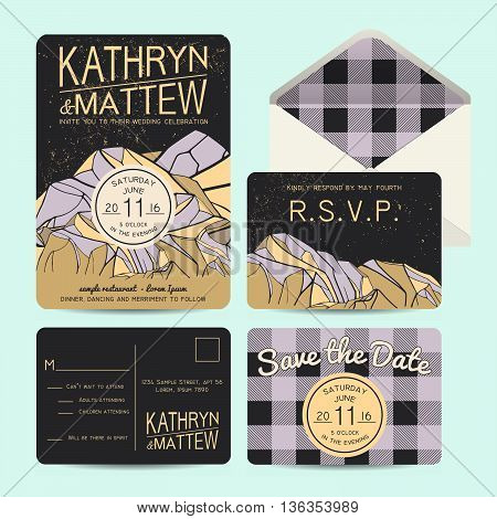Beautiful wedding set decorated with abstract mountains. Geometric invitation template