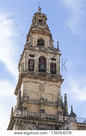 Cordoba - Spain - June 10, 2016 :torre Del Alminar Bell Tower Spire Trees Palms Mezquita Cordoba And