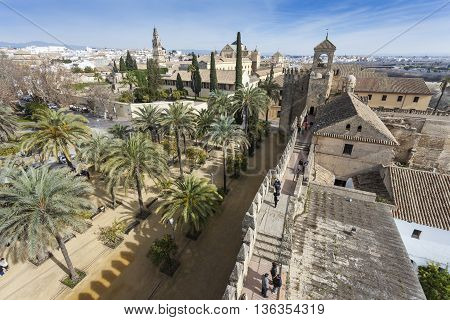 Cordoba - Spain - June 10, 2016 :view Of Alcazar And Cathedral Mosque Of Cordoba, Spain