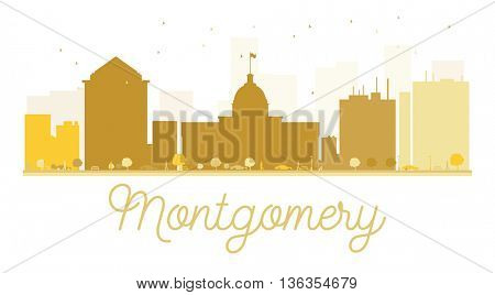 Montgomery City skyline golden silhouette. Vector illustration. Simple flat concept for tourism presentation, banner, placard or web site. Business travel concept. Montgomery isolated on white