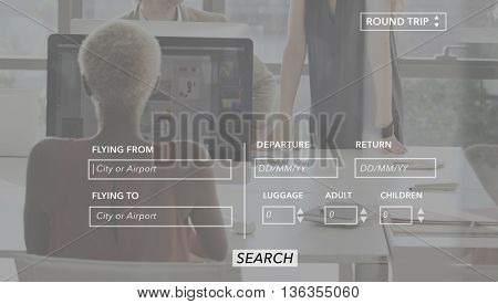 Flight Template Online Time Trip Vacation Digital Concept