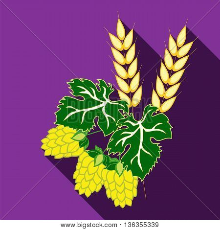 Ears of barley and hop cones with leaves. Image in flat style with long shadow