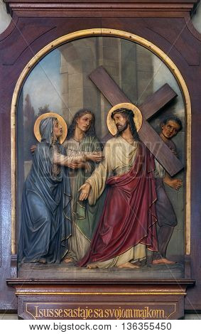ZAGREB, CROATIA - SEPTEMBER 14: 4th Stations of the Cross, Jesus meets His Mother, Basilica of the Sacred Heart of Jesus in Zagreb, Croatia on September 14, 2015