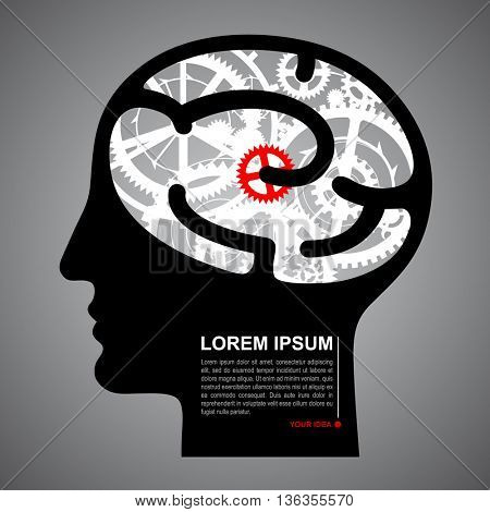 Silhouette human head with brain gears. Techno symbol and business idea concept. Vector illustration