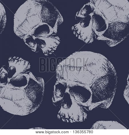 Grunge seamless pattern with skulls. Hand drawn. Vector illustration.