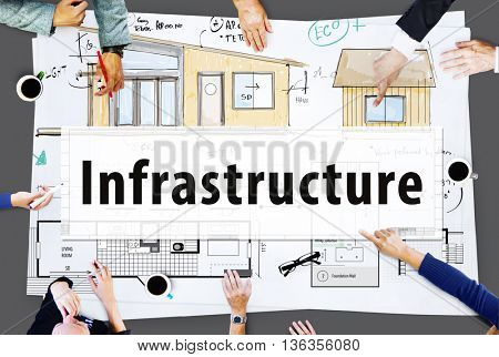 Infrastructure Interior Construction Blueprint Concept