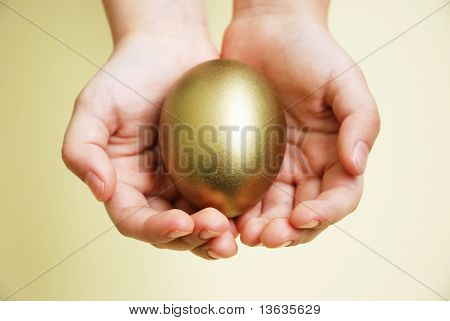 Golden Egg In Hands