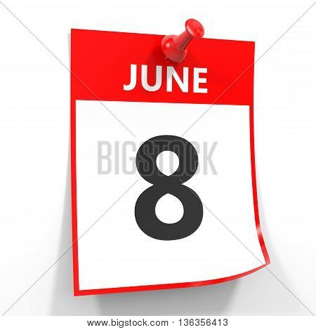 8 June Calendar Sheet With Red Pin.