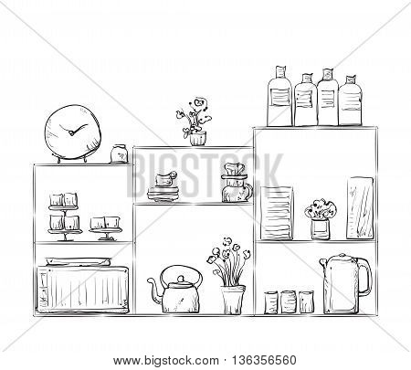 Hand drawn cupboard. Doodle illustration of dishes on the shelves