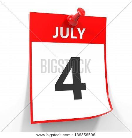 4 July Calendar Sheet With Red Pin.