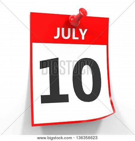 10 July Calendar Sheet With Red Pin.