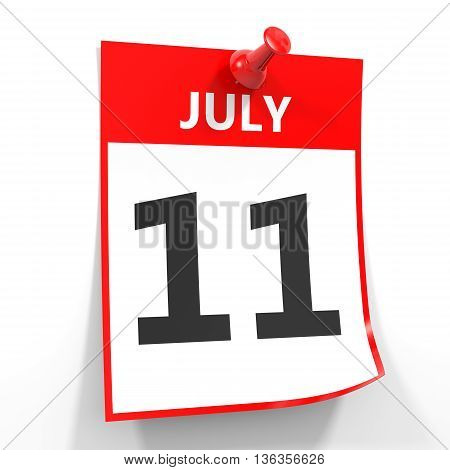 11 July Calendar Sheet With Red Pin.
