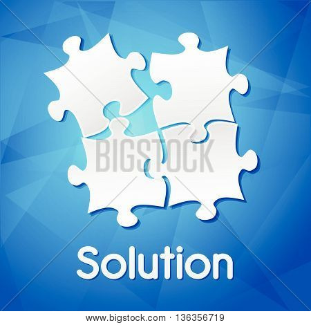solution and puzzle pieces - white text with symbol over blue background, flat design, business creative concept, vector