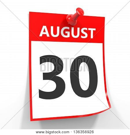 30 August Calendar Sheet With Red Pin.