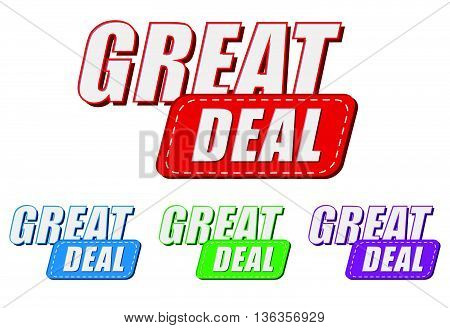 great deal, four colors labels, flat design, business shopping concept, vector