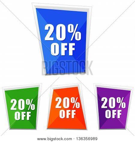 20 percentages off, four colors labels, flat design, business shopping concept, vector