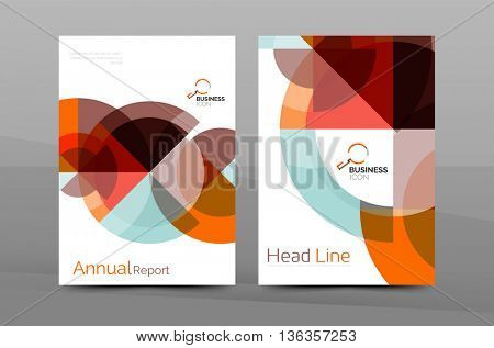 Brochure template of annual report cover, business flyer layout, geometric abstract poster, A4 size