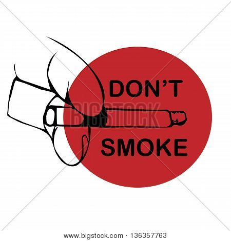 No smoking sign on white background. Hand draw illustration hand with cigarette . Vector illustration