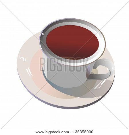 Illustration white cup of red tea on a white saucer isolated on white background