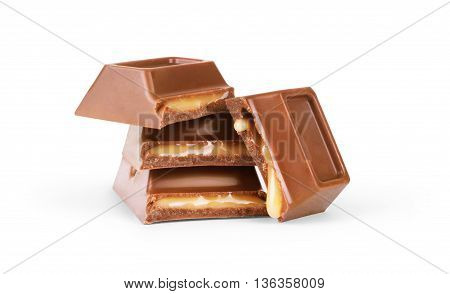 Chocolate with caramel on a white background