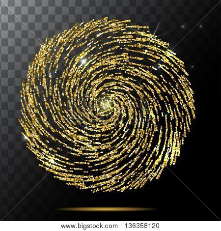 Abstract Bright Falling gold spiral Star - Shooting Star with Twinkling Star Trail on transparent Background - Meteoroid, Comet, Asteroid - Backdrop Vector Illustration EPS