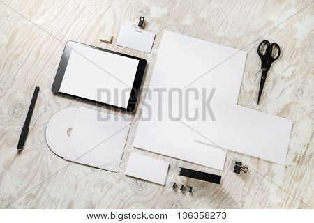 Blank stationery and corporate identity template on wooden background. Responsive design mock-up. Blank template for branding identity.