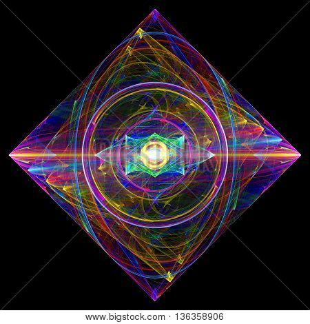 Crystal clear diamond. 3D illustration. Sacred geometry. Mysterious psychedelic relaxation pattern. Fractal abstract texture. Digital artwork graphic design astrology alchemy magic.