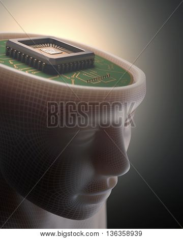 3D illustration. Microchip in place of the human brain. Concept of artificial intelligence.