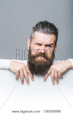 Bearded Emotional Man With Paper