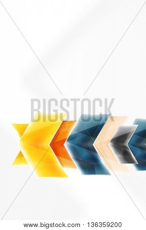 Glossy arrow wallpaper. Color geometric shapes - glass realistic style. Vector web brochure, internet flyer with copyspace