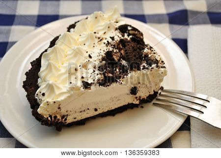 Served Chocolate Cookie Cream Pie with a Fork