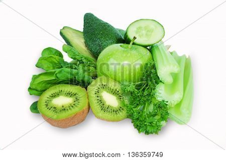 Fruit vegetables green vitamin isolated white background. Avocado, kiwi, apple, celery, cucumber and parsley. Vegetables and fruits for smoothies.