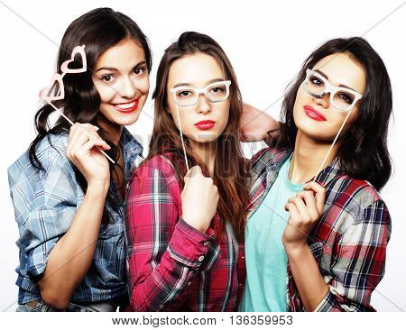 stylish sexy hipster girls best friends ready for party, isolated on white