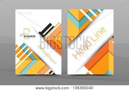 Cover design of annual report cover brochure, modern abstract background template, layout A4 size page