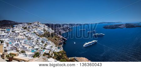 Cruise ships in Thira on Santorini island, Greece