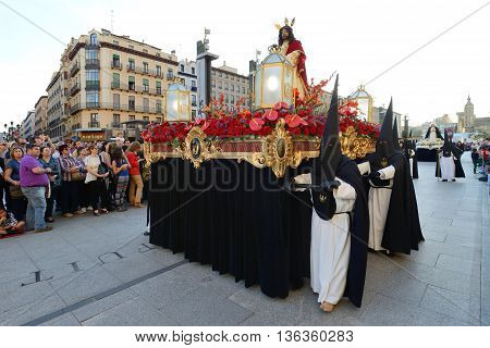 ZARAGOZA SPAIN - APR 18 Unidentified people in the Good Friday procession April 18 2014 in the Zaragoza (Saragossa) community of Aragon Spain