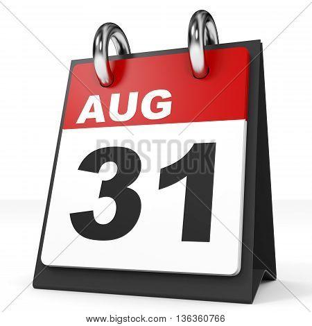 Calendar On White Background. 31 August.