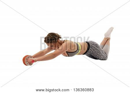 Fitness. Cute woman doing abdominal exercise, isolated on white