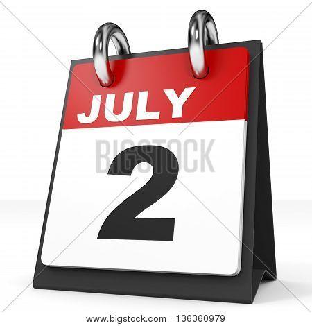 Calendar On White Background. 2 July.