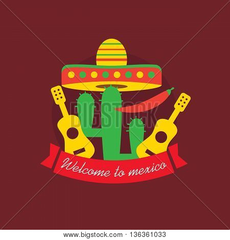 Welcome to mexico poster. Mexican food cactus chili eps10
