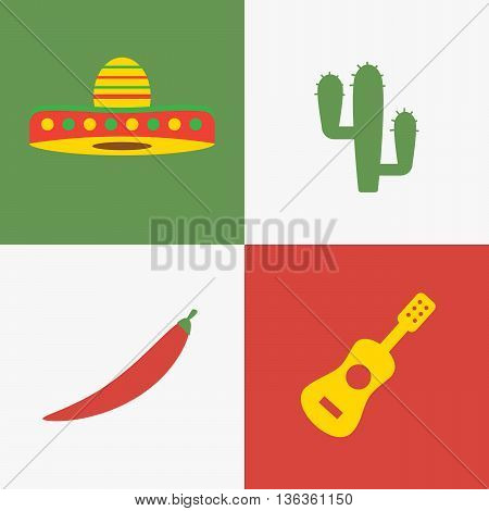 Mexico icons set mexican symbols. Cactus and chili pepper eps10
