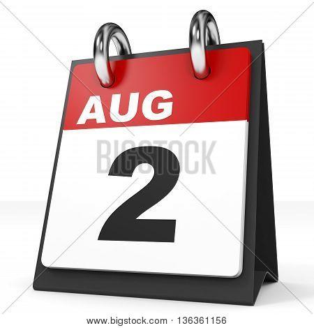 Calendar On White Background. 2 August.