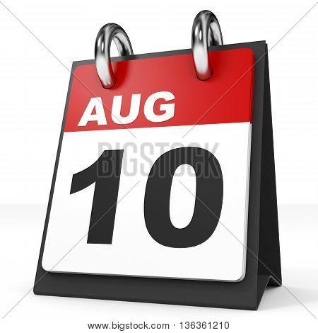 Calendar On White Background. 10 August.
